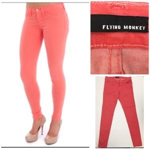 Flying Monkey coral stretchy skinny jeans size 9